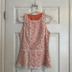 Guess White Lace Coral Underlay Peplum Top